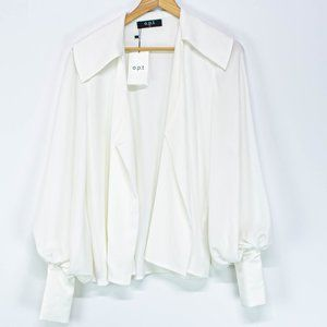 o.p.t White Long Sleeve Peasant Style Blouse